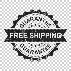 Free shipping scratch grunge rubber stamp. Vector illustration on isolated transparent background. Business concept guarantee free delivery stamp pictogram.