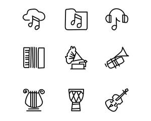 music hand drawn icon set design illustration, hand drawn style design, designed web and app