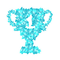 Number one Trophy Cup shape Crystal diamond 3D virtual set illustration Gemstone concept design blue color, isolated on white background, vector eps 10