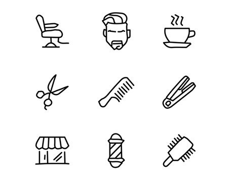 barber hand drawn icon set design illustration, hand drawn style design, designed web and app