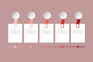 Set of five infographic rectangular labels in the shadows of red color above the time line. All is ready for your text.