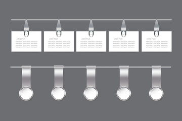 Set of metal infographic hanging rectangular and circle labels
