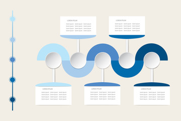 Modern infographic labels as wavy waves in shadows of blue color with rectangles, circles and timeline ready for your text.