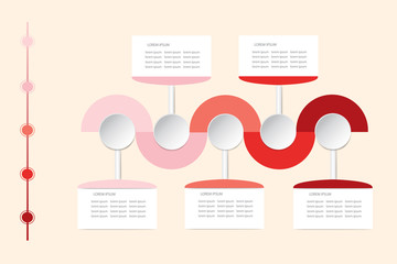 Modern infographic vector as wavy waves in shadows of red color