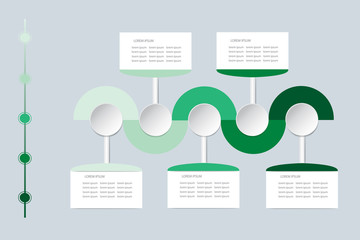 Infographic labels as wavy waves in shadows of green color with rectangles, circles and timeline ready for your text.