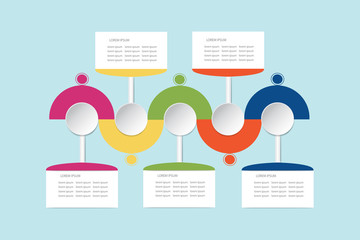 Trendy colorful infographic labels as wavy waves with rectangles, circles and timeline ready for your text.