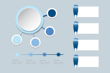 Modern infograph labels as a circle with four small circles in shadows of blue color around. You can use another rectangles and timeline ready for your text.