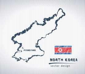 North Korea national vector drawing map on white background