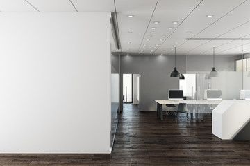Clean office with empty wall