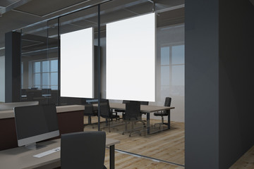 Modern office with empty banner