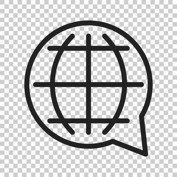 Choose or change language icon. Vector illustration on isolated transparent background. Business concept globe world communication pictogram.