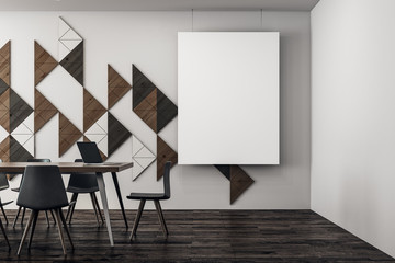 Stylish meeting room with poster