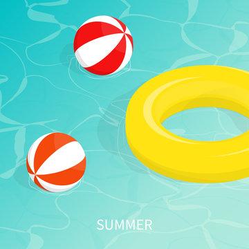 hello summer isometric pool float Beach ball vector
