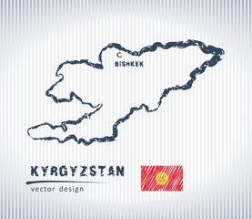 Kyrgyzstan vector chalk drawing map isolated on a white background