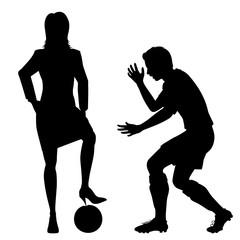 Woman puncturing football silhouette
