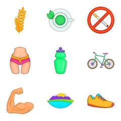 Yoga like sport icons set. Cartoon set of 9 yoga like sport vector icons for web isolated on white background