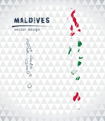 Maldives vector map with flag inside isolated on a white background. Sketch chalk hand drawn illustration