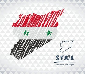 Map of Syria with hand drawn sketch pen map inside. Vector illustration