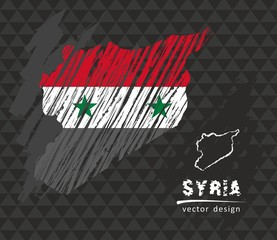 Syria national vector map with sketch chalk flag. Sketch chalk hand drawn illustration