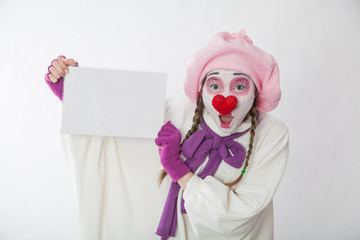 mime girl holding a sign for inscriptions. Human emotions