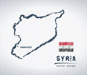 Syria vector chalk drawing map isolated on a white background