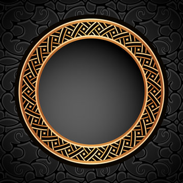 Vintage gold round frame on black ornamental background