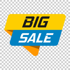 Big sale banner badge icon. Vector illustration on isolated transparent background. Business concept big sale pictogram.