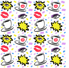 Vector hand drawn ink seamless pattern with woman eye, closed eyes and coffee cup with lipstick. Isolated on white background. Design for prints, textile, posters and web in beauty industry
