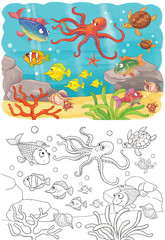Sea animals. Ocean. Cute fish. Illustration for children. Coloring page.  Cute and funny cartoon characters