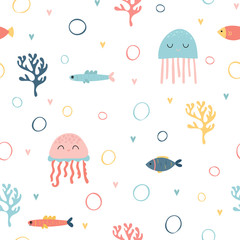 Childish seamless pattern with cute hand drawn fishes and jellyfishes in doodle style. Trendy nursery background. Kids texture for fabric