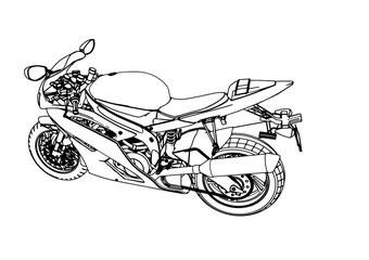 sketch of a sport motorcycle vector