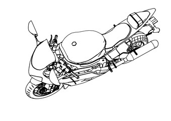 sketch of a sport motorcycle vector
