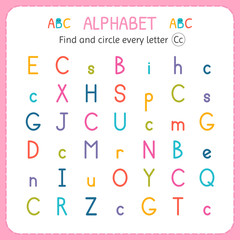Find and circle every letter C. Worksheet for kindergarten and preschool. Exercises for children