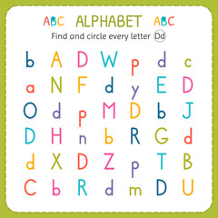 Find and circle every letter D. Worksheet for kindergarten and preschool. Exercises for children
