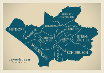 Modern City Map - Leverkusen city of Germany with boroughs and titles DE