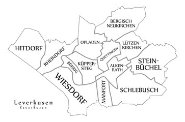 Modern City Map - Leverkusen city of Germany with boroughs and titles DE outline map