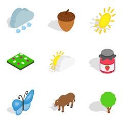 Zoology icons set. Isometric set of 9 zoology vector icons for web isolated on white background