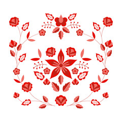 Polish folk pattern vector. Floral ethnic ornament. Slavic eastern european print. Red flower design for bohemian pillow case, fashion boho embroidery clothing, gypsy interior textile, silk scarf.