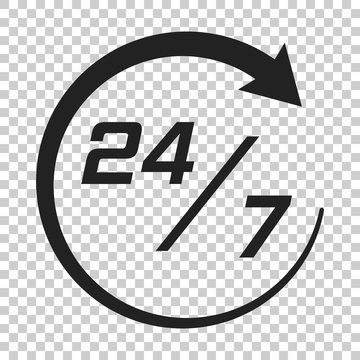 Twenty four hour clock icon in flat style. 24/7 service time illustration on isolated transparent background. Around the clock sign concept.