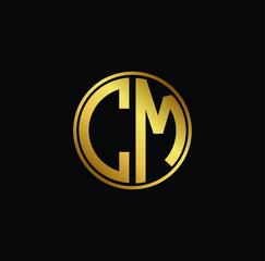 Initial letter CM, minimalist line art monogram circle shape logo, gold color on black background