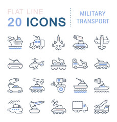 Set Vector Line Icons of Military Transport.