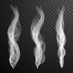 Smoke isolated transparent special effect. Set of white smoke background. Vector illustration.