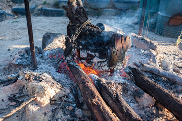 Burning wood with charcoal and flame