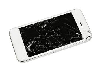 Modern touch screen smartphone with broken screen.