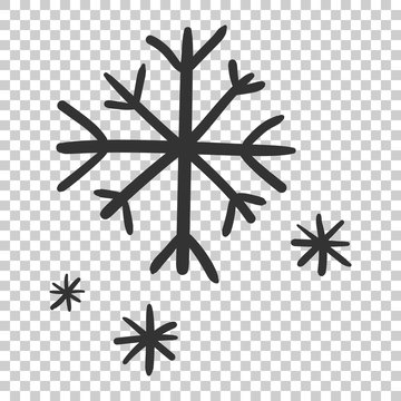 Hand drawn snowflake vector icon. Snow flake sketch doodle illustration. Handdrawn winter christmas concept on isolated transparent background.