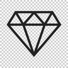 Diamond jewel gem vector icon in flat style. Diamond gemstone illustration on isolated transparent background. Jewelry brilliant concept.