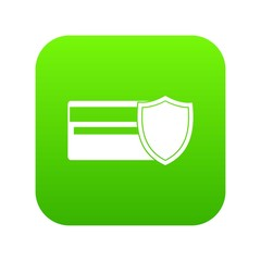 Credit card and shield icon digital green for any design isolated on white vector illustration