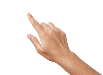 Woman hand showing the one fingers.