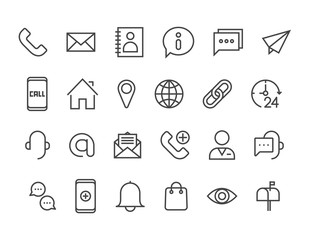 Help and Support Contact Communications Related Vector Line Icons Phone Assistant, Online Help, Video Chat and more Editable Stroke. 48x48 Pixel Perfect