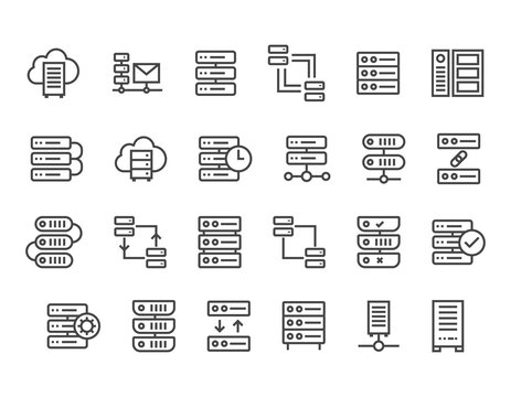 Set of Network and Server icon set  Editable Stroke. 48x48 Pixel Perfect.